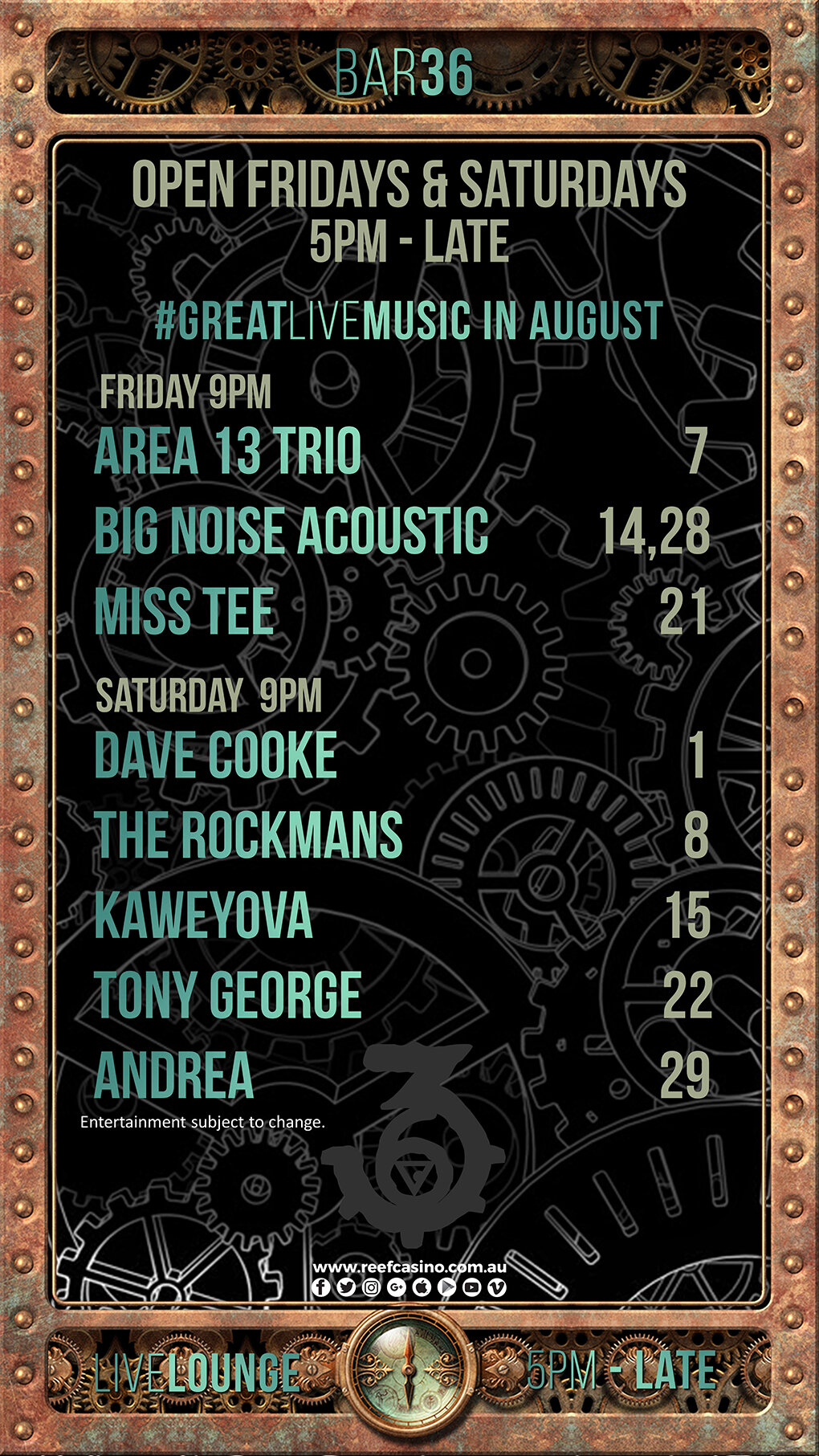 August GIG Guide Entertainment